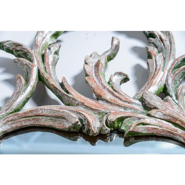Glass Hollywood Regency Italian Florentine Silver Gilt Wood Mirror For Sale - Image 7 of 13