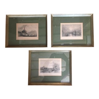 Vintage Early 20th C. Sepia Prints - Set of 3 For Sale