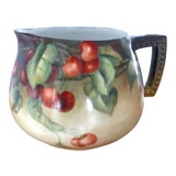 Image of French Hand-Painted Cherries Limoges Porcelain Pitcher For Sale