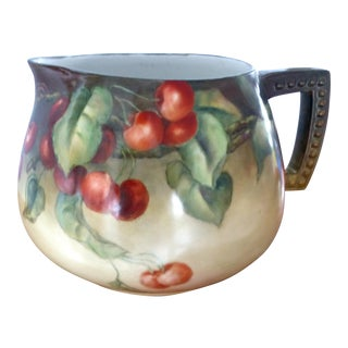 French Hand-Painted Cherries Limoges Porcelain Pitcher For Sale