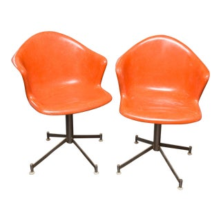 Pair of Vintage Orange Fiberglass Shell Swivel Chairs For Sale