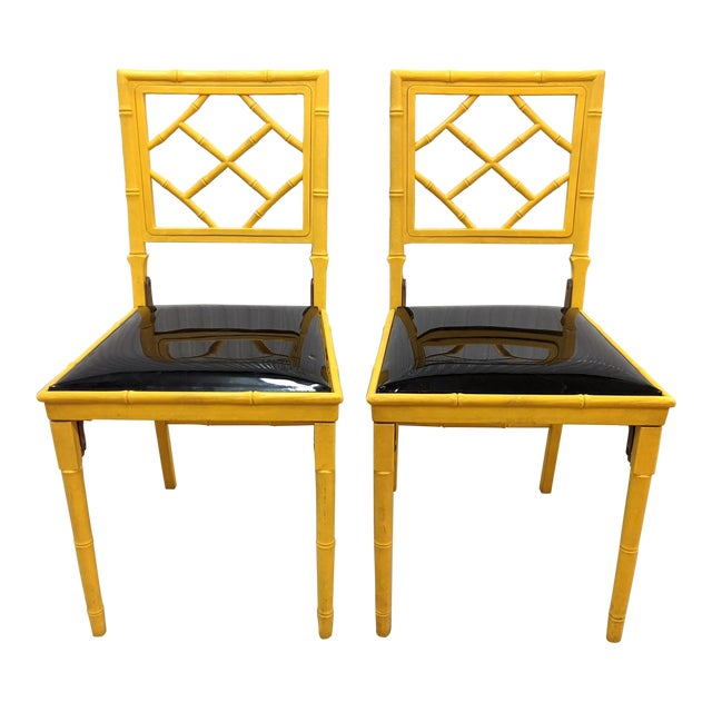 1970s Hollywood Regency Faux Bamboo Folding Chairs - a Pair For Sale