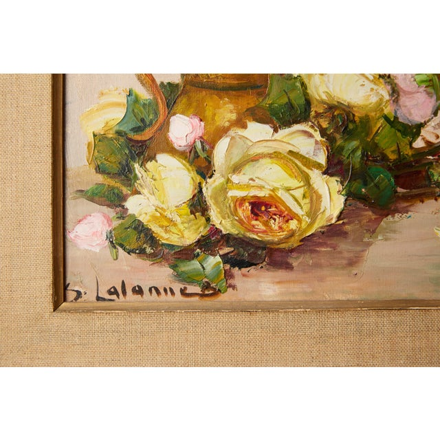 French Vintage French Still Life of Roses by Simone Lalanne Bascle, Circa 1940s For Sale - Image 3 of 9
