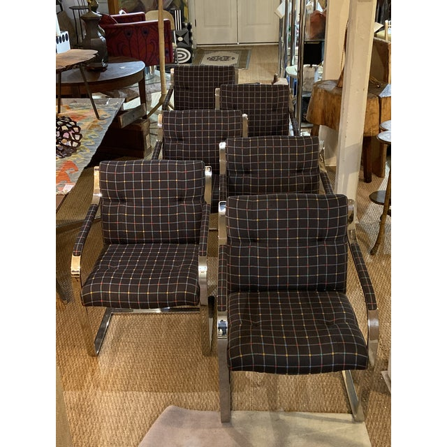 Mid Century Modern Chrome Over Steel Brueton Chairs - Set of 6 For Sale - Image 9 of 9