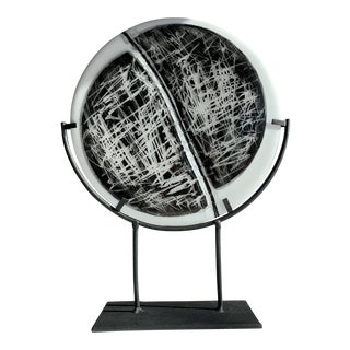 Contemporary Glass and Steel Sculpture For Sale