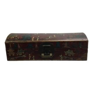 Vintage Mid Century Asian Design Mache Box For Sale