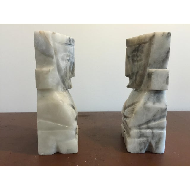 Large White Marble Tiki Bookends - Image 3 of 5