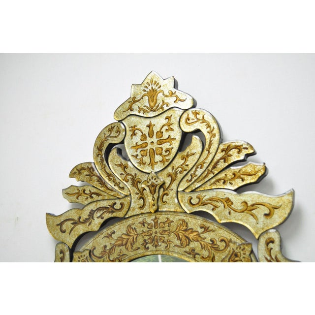 "47"" X 29"" Decorator Contemporary Venetian Style Gold Etched Shield Wall Mirror For Sale - Image 5 of 11"