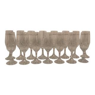 1960s Crystal Champagne Flutes - Set of 15 For Sale