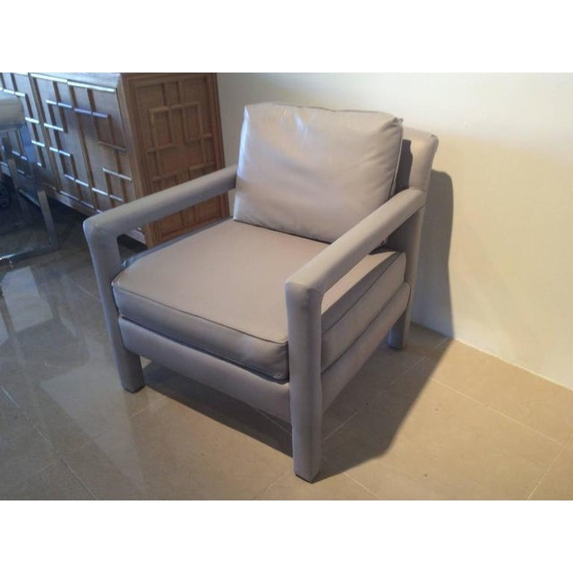 Vintage Milo Baughman Style Parsons Grey Leather Arm Chairs - A Pair - Image 2 of 12