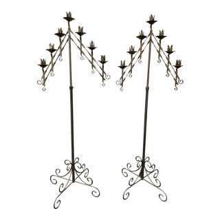 Floral Art Deco Standing Candelabras - a Pair For Sale