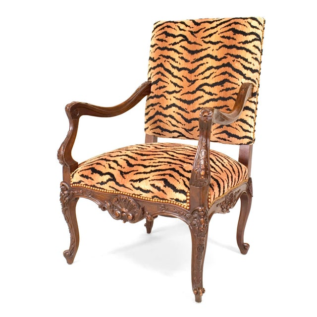 French Regence Faux Tiger Arm Chair For Sale - Image 4 of 4
