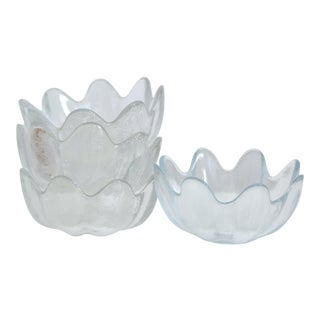 Vintage Glass Lotus Bowls, Viking, Salad Bowls, Dessert Bowls - Set of 4 For Sale