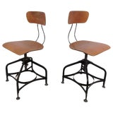 Image of Pair of Mid-Century Draftsman Swivel Stools by Toledo For Sale