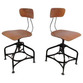 Pair of Mid-Century Draftsman Swivel Stools by Toledo For Sale