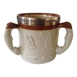 English Salt Glazed Tankard / Tyg With 3 Hound Handles For Sale