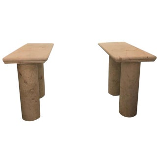 Italian Sandstone Double Pedestal Console Tables - a Pair For Sale