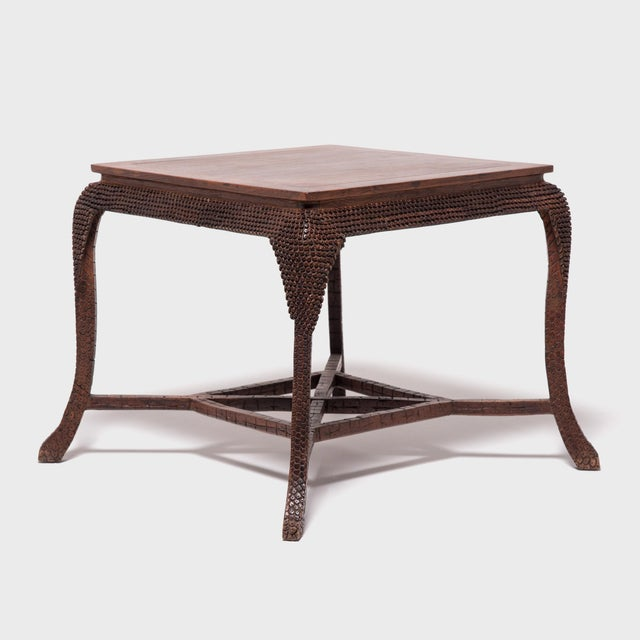 Early 20th Century Dragon Scale Tea Table and Stools For Sale - Image 4 of 11