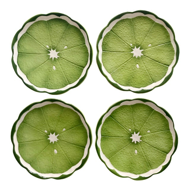 Mid 20th Century Lenwile Ardalt Artware Lime Citrus Dessert Plates - Set of 4 For Sale