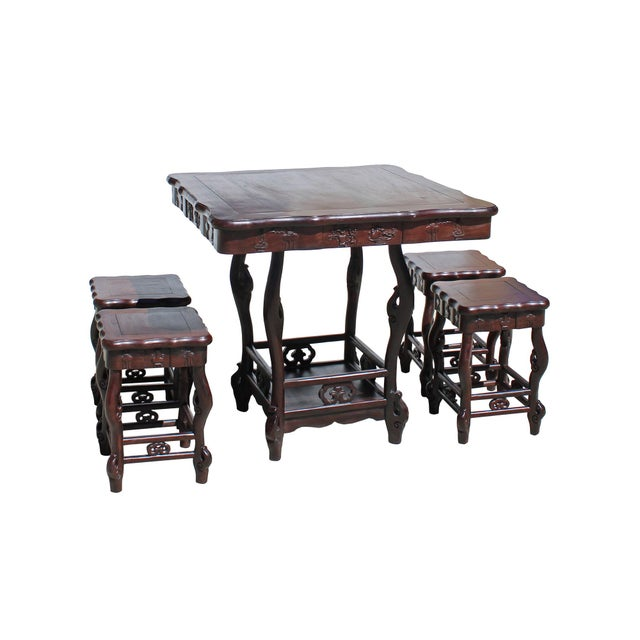 2010s Chinese Dark Brown Huali Rosewood Square Table Chair 5 Pieces Set For Sale - Image 5 of 8