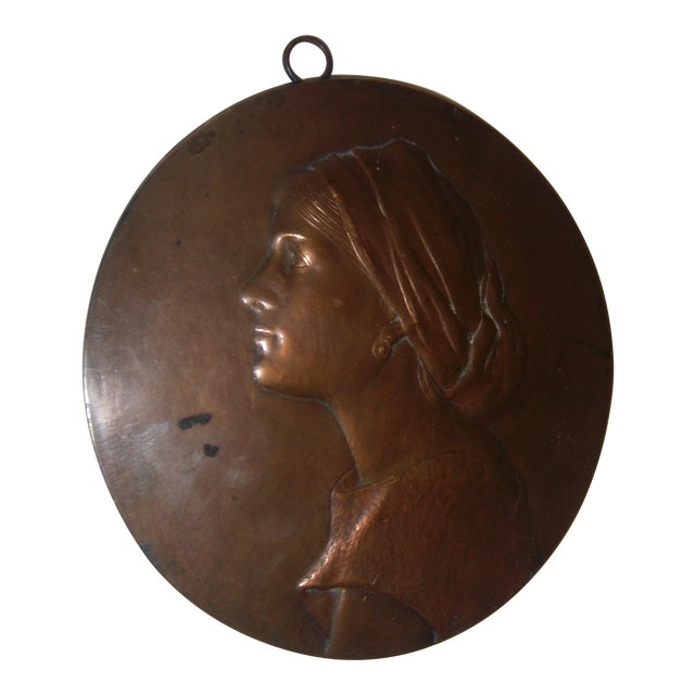 Antique Bronze Woman Profile Wall Plaque - Image 1 of 11