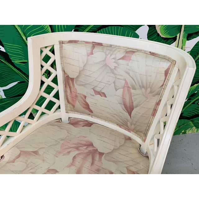 Mid-Century Modern Hollywood Regency Lattice Club Chairs - a Pair For Sale - Image 3 of 7