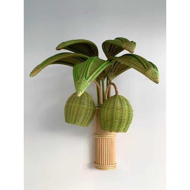 Hollywood Regency Pair of Rattan Palm Tree Sconces. France, 1980s For Sale - Image 3 of 11