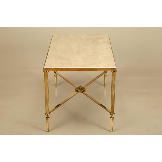 French French Mid-Century Modern Coffee or Cocktail Table in Polished Solid Brass For Sale - Image 3 of 9