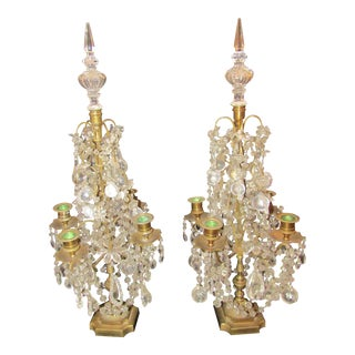 20th Century Vintage Crystal and Brass Candelabras - A Pair For Sale