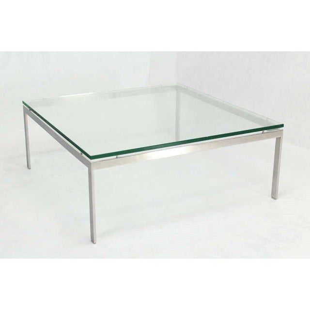 Metal Mid-Century Modern Style Large Square Stainless Base and Glass-Top Coffee Table For Sale - Image 7 of 9