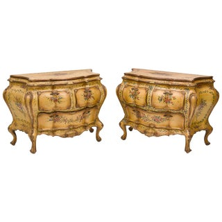 Pair of Italian Rococo Style Hand Painted Commodes, Late 19th Century For Sale