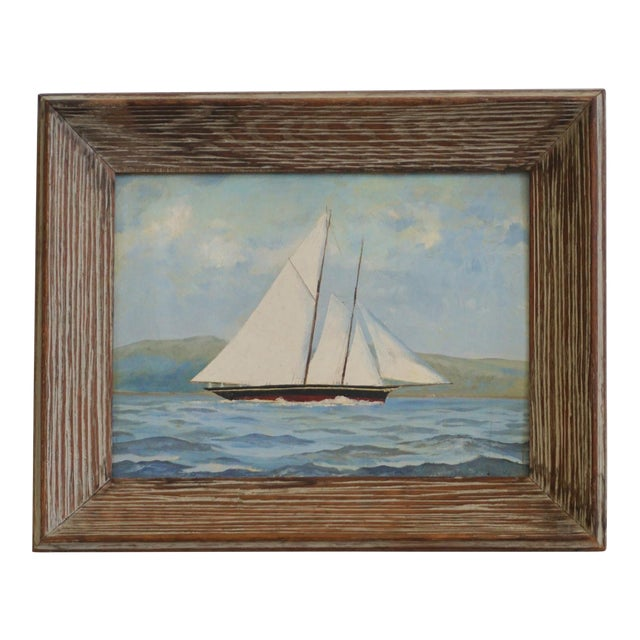 Vintage Sailboat Painting In Weathered Frame - Image 1 of 6