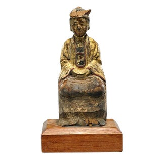 Antique Gilded Chinese Carved Statuette For Sale