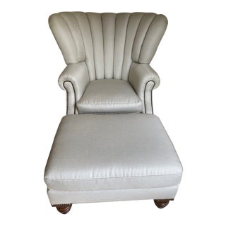 Lillian August Bentley Chair and Ottoman For Sale