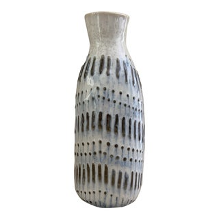 Hand Painted Olive Blue and White Modern Thai Ceramic Vase For Sale