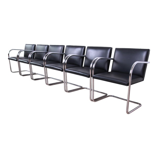 Mies Van Der Rohe for Knoll Black Leather and Chrome Brno Chairs - Set of 6 For Sale