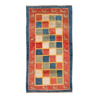 Modern Gabbeh Checked Persian Handmade Wool Rug For Sale
