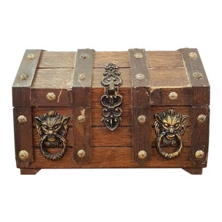 Handmade Vintage Liquor Treasure Trunk Set With 2 Bottles and 4 Glasses Unique For Sale