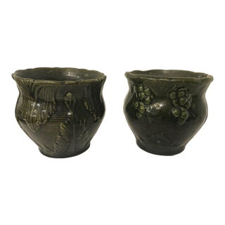 1960s Mid-Century Modern Small Ceramic Jardinieres - a Pair For Sale