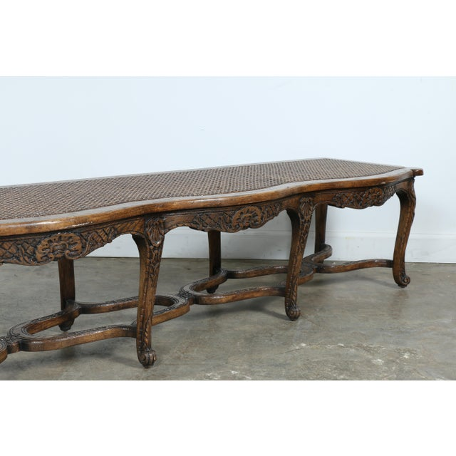 Italian Style Carved Wood Cane Seat Bench - Image 6 of 10