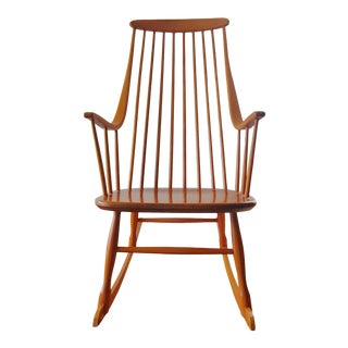 1950's Lena Larsson for Nesto of Sweden Grandessa Beech Rocking Chair For Sale