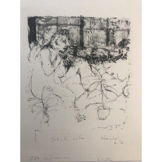 Abstract Figurative Lithograph by Dellas Henke, 1978 For Sale