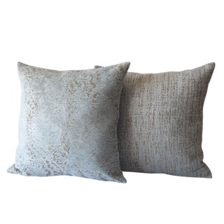 Didem Chenille Damask Blue Pillows - A Pair For Sale