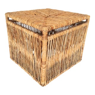 Woven Rattan Rope Weave Cube Footstool For Sale
