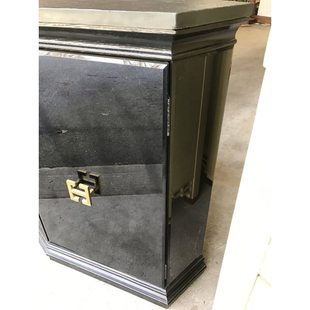 Vintage Modern Style Black Mirrored Glass Demilune Cabinet - Image 8 of 11