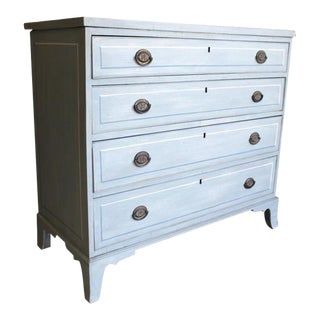 American Blue Painted Federal Chest of Drawers on French Feet For Sale
