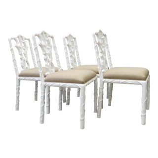 Late 20th Century Carved Twig Dining Chairs- Set of 4 For Sale