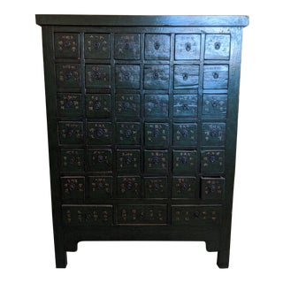 Green Lacquered Apothecary Cabinet For Sale