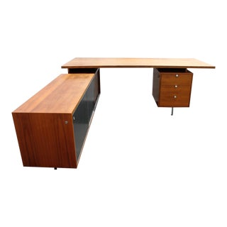 George Nelson for Herman Miller Walnut L-Shaped Executive Desk For Sale