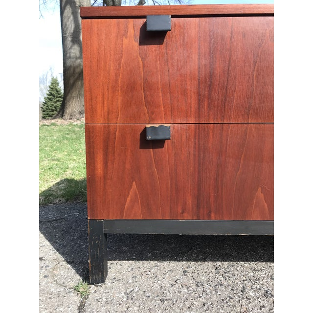 Walnut and Black Art Deco 2 Drawer Chest For Sale - Image 4 of 7